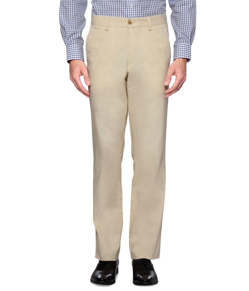 Van Heusen Cream Regular Fit Solid Trousers