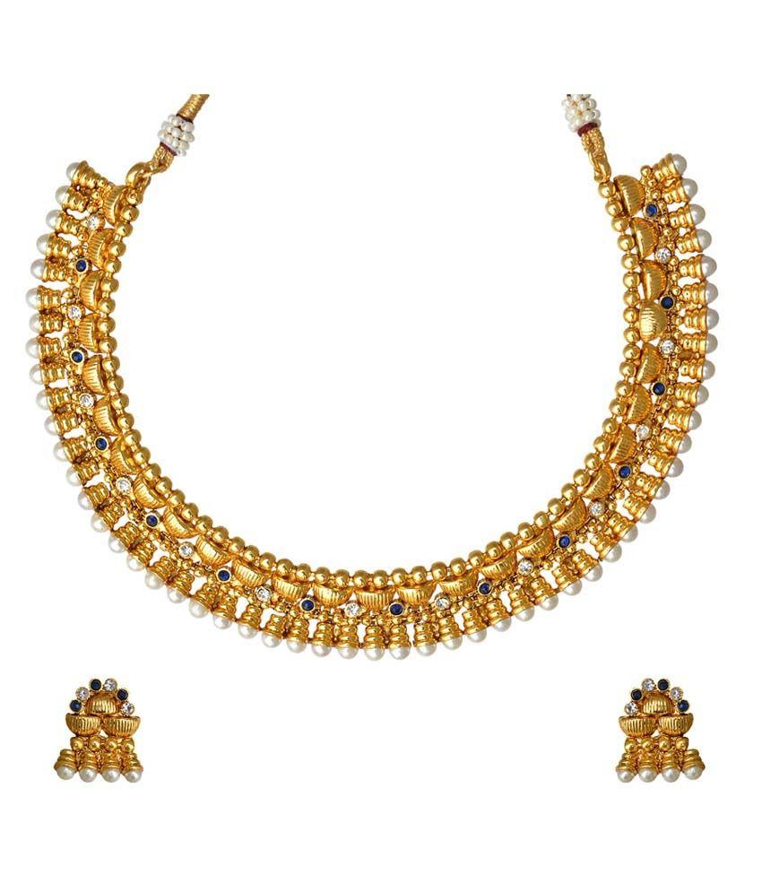 Adiva Blue Copper Traditional Antique Necklace Set