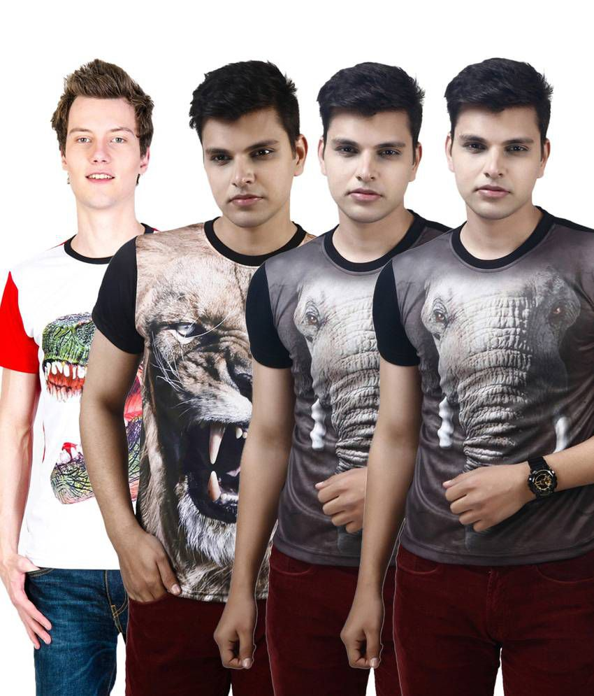 Posh 7 Elegant Multicolour Combo Of 4 3D Printed Round Neck T Shirts For Men