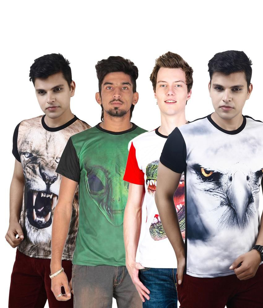 Posh 7 Good Looking Multicolour Combo Of 4 3D Printed Casual T Shirts For Men