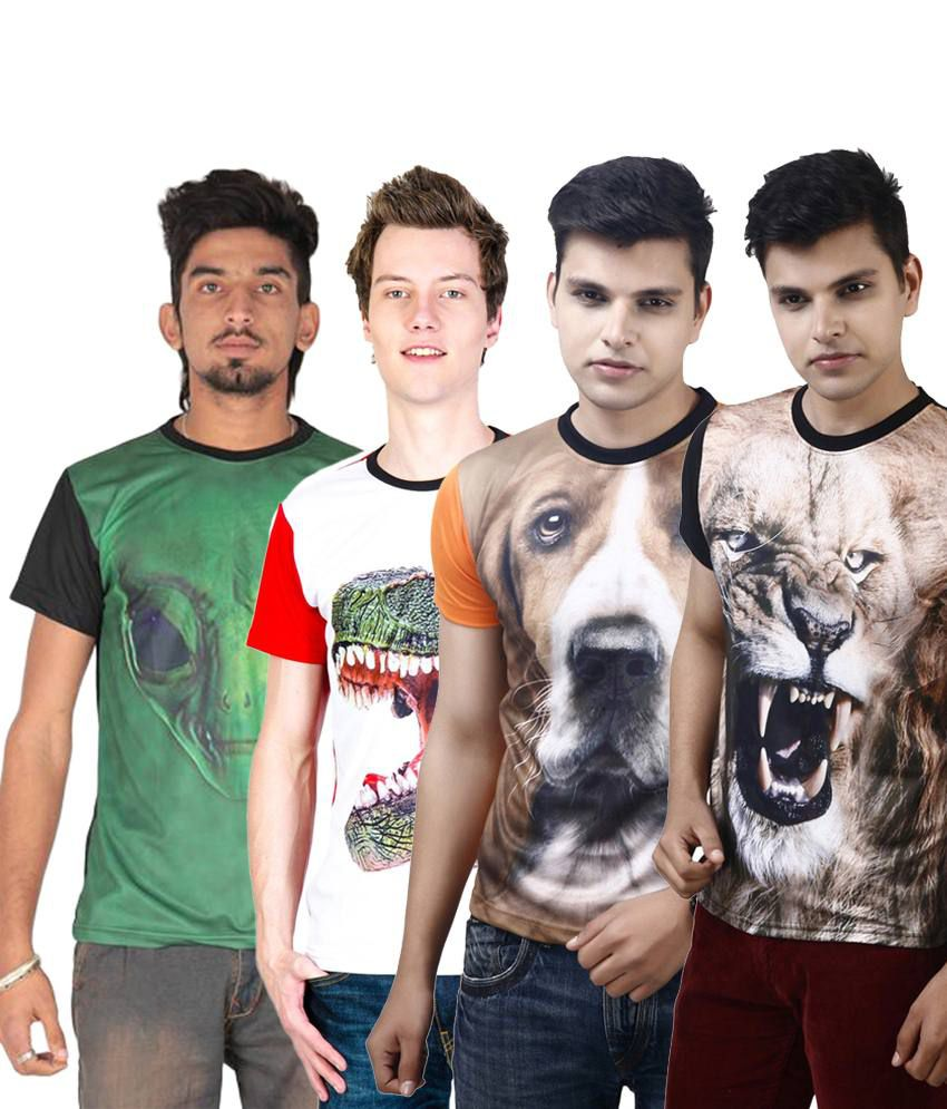Posh 7 Stunning Multicolour Combo Of 4 3D Printed Casual T Shirts For Men