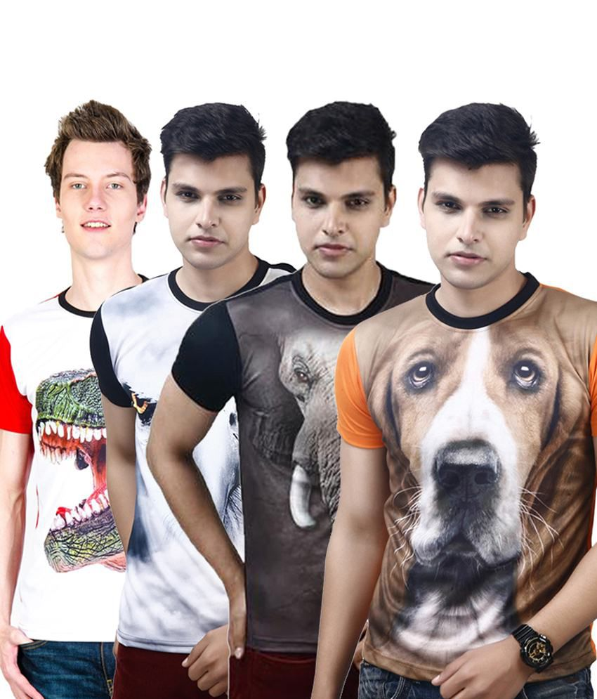 Posh 7 Stylish Multicolour Combo Of 4 3D Polyester Printed T Shirts For Men