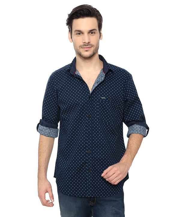 d89bdbbd Van Heusen V Dot Navy Printed Slim Fit Shirt - Buy Van Heusen V Dot Navy  Printed Slim Fit Shirt Online at Best Prices in India on Snapdeal