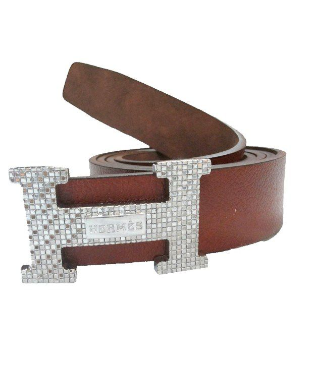 Mode Genuine Leather Casual Brown Color Auto Lock Belt For Men