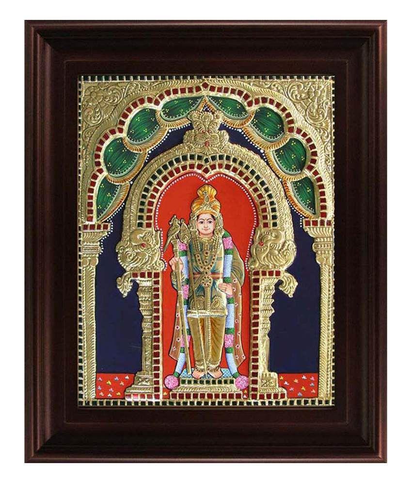 Myangadi Golden Wood Palani Murugan Raja Alangaram Tanjore Painting