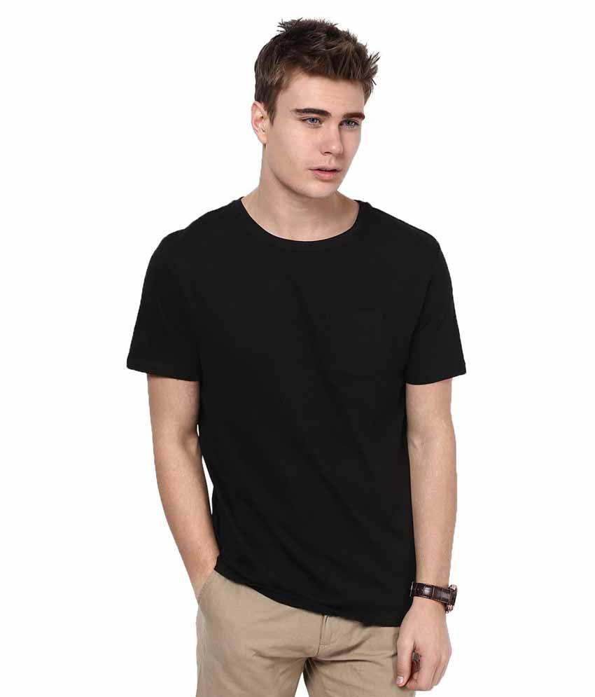 Pulse 100% cotton Black half sleeve round neck t shirt For Men