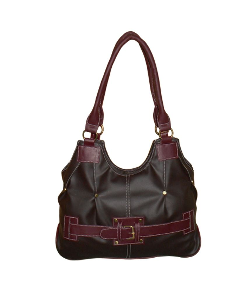 Sjpearls Brown Synthetic Leather Handbag
