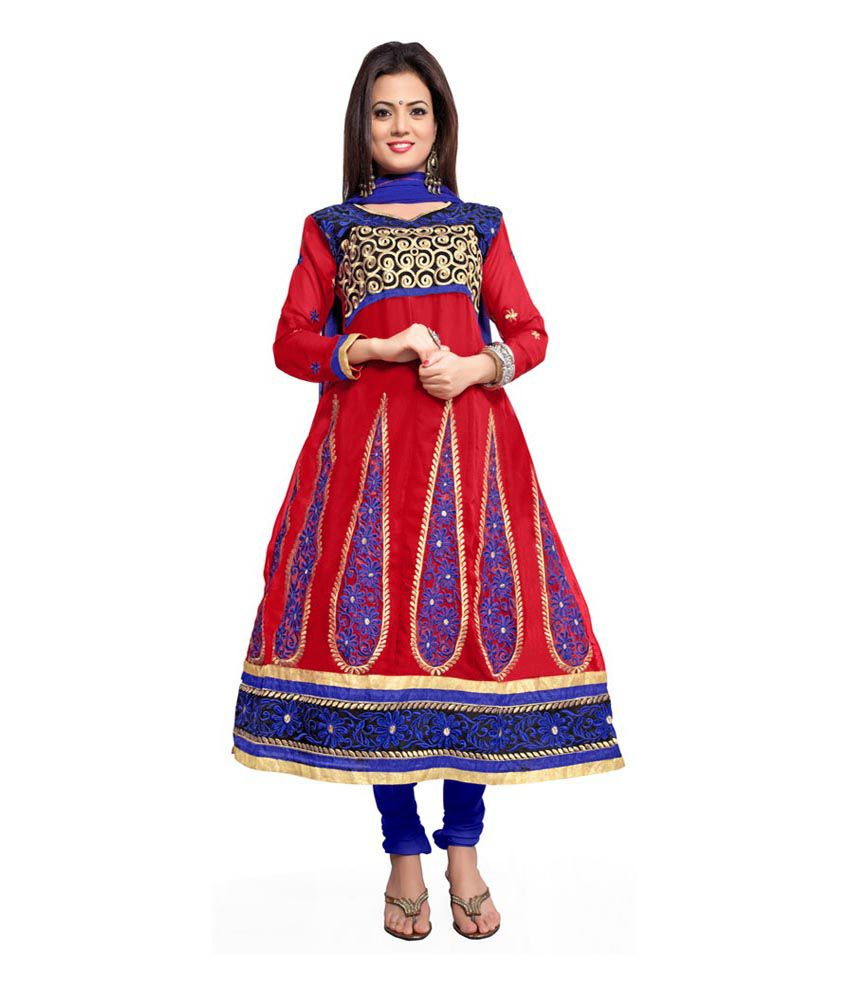 Vardhman Synthetics Red Georgette Dress Material
