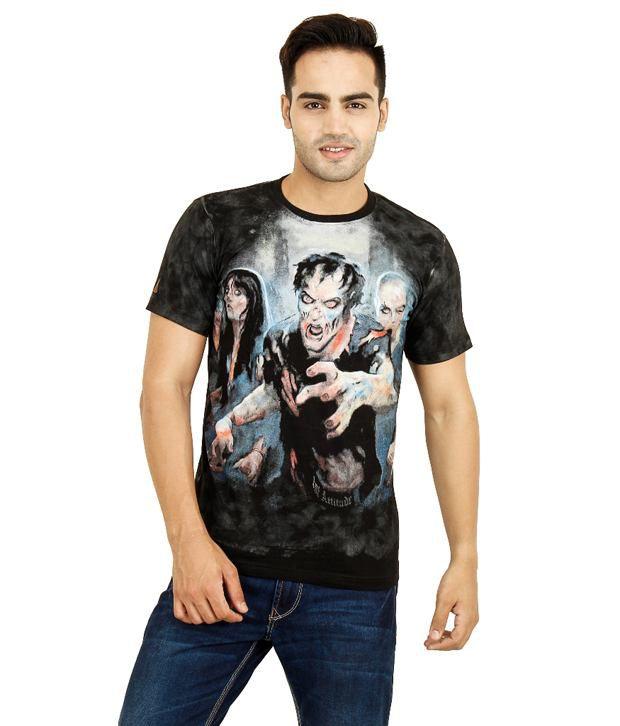 1St Attitude Black Cotton T Shirt