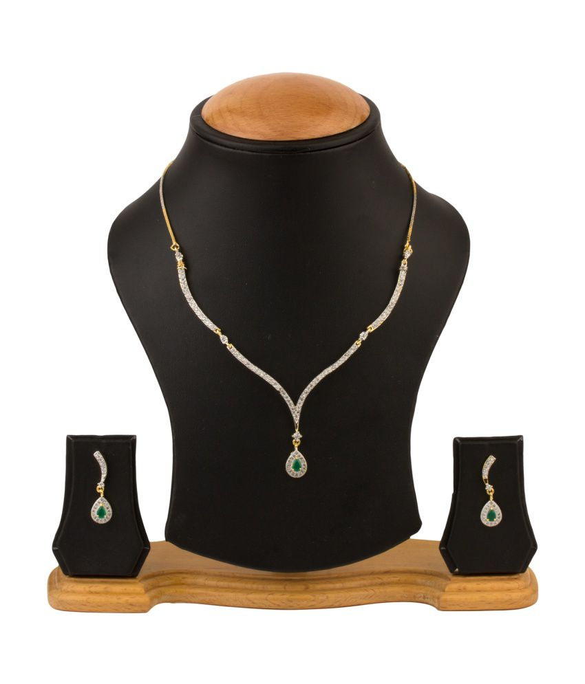 RZ Oddish Gold Plated German Silver American diamonds Necklace Set