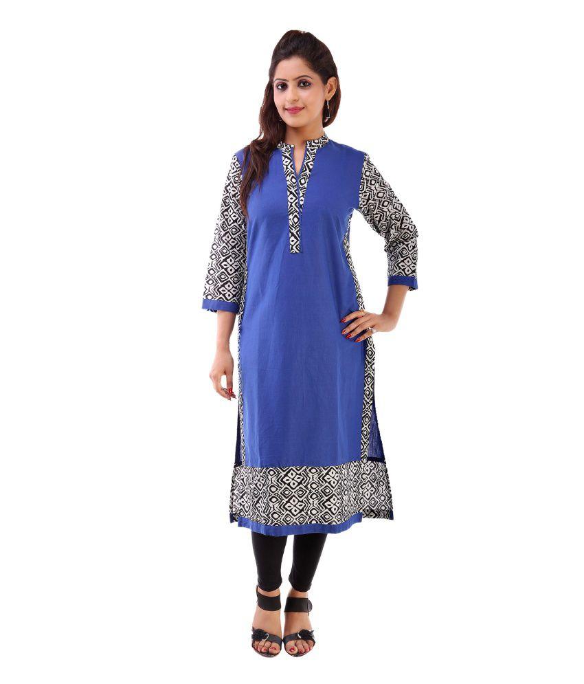 Indian Virasat Blue Cotton Straight Kurti