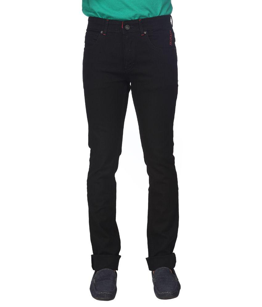 STREETGUYS Black Cotton Blend Slim Fit Jeans