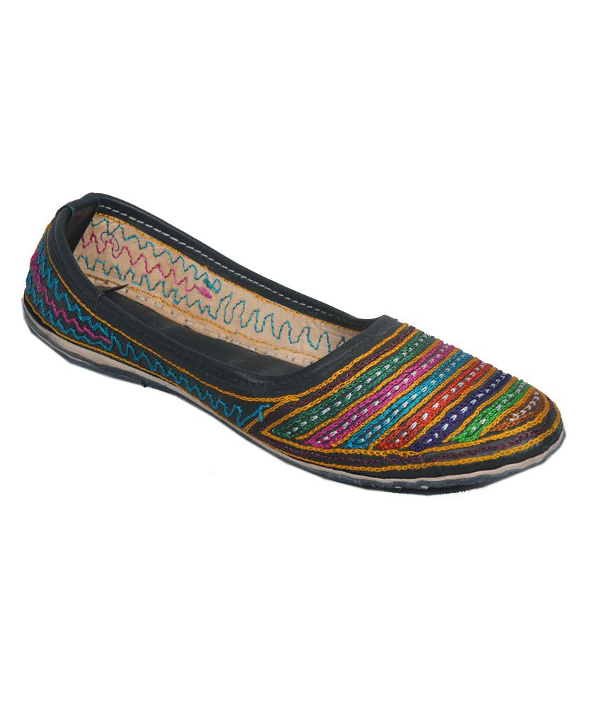 Veronica Jodhpuri Black with Multicolour Stripes Embroidered Leather Jutis