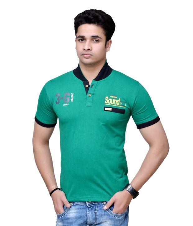 Zxe Green Printed Cotton Henley T Shirt