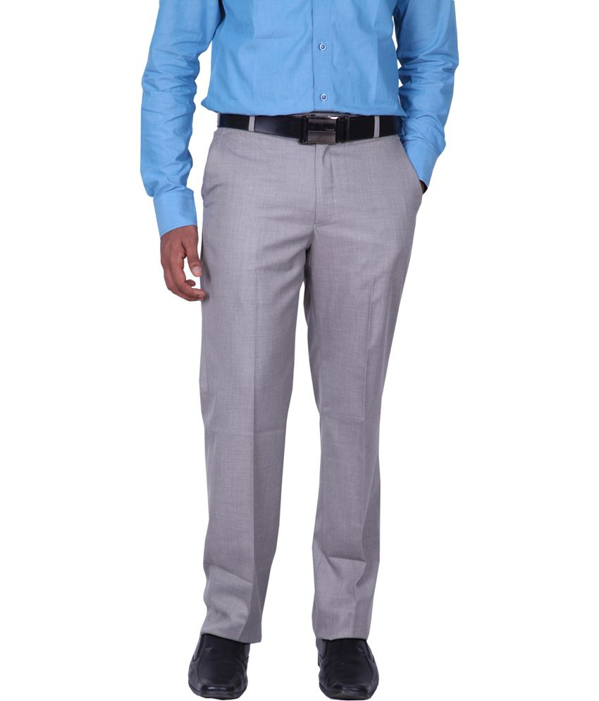 Mchenry Poly Viscose Gray Flat Style Trouser