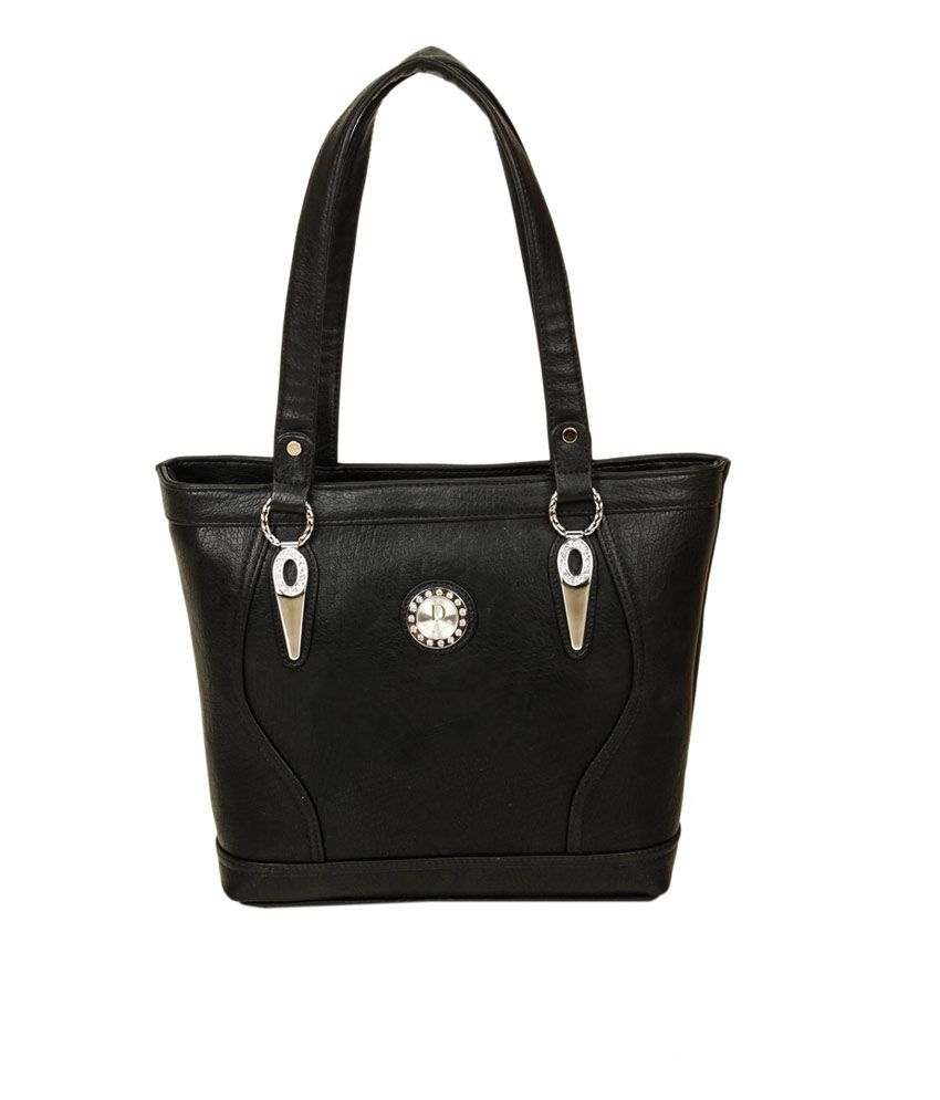 Trendz Deal Black P.U. Zip Shoulder Bag