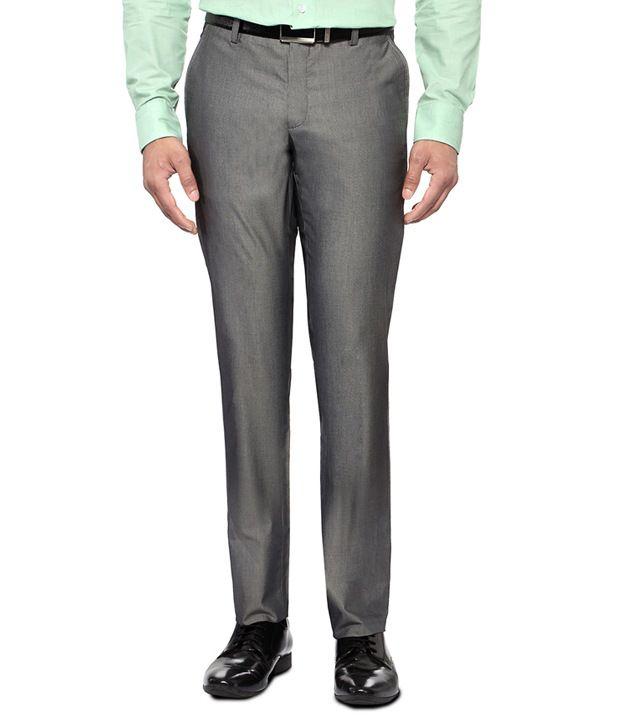 Van Heusen Grey Ultra Slim Fit Formal Flat Front Trousers