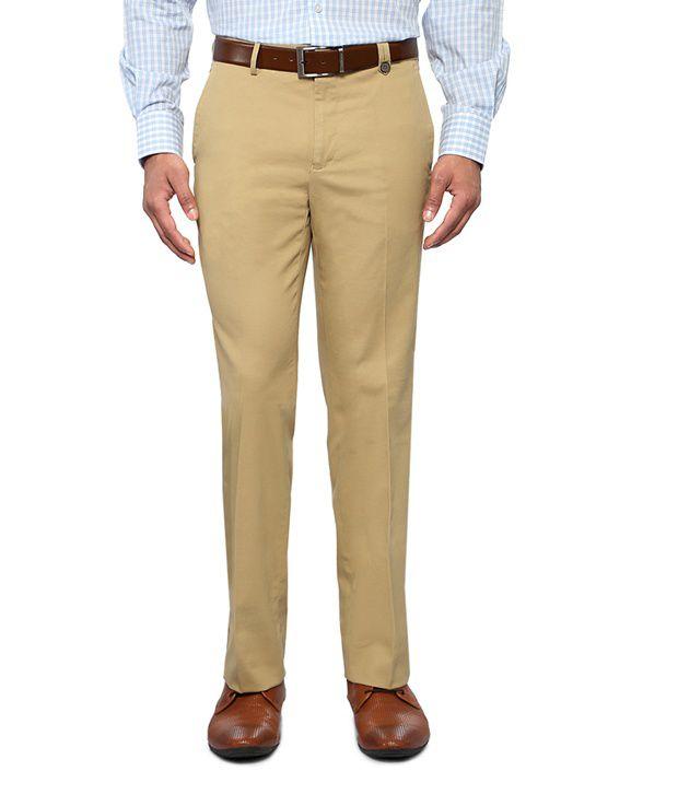 Van Heusen Khaki Slim Fit Solid Trousers