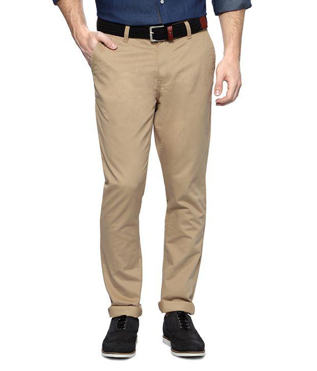 Van Heusen Khaki Solid Ultra Slim Fit Flat Front Trousers