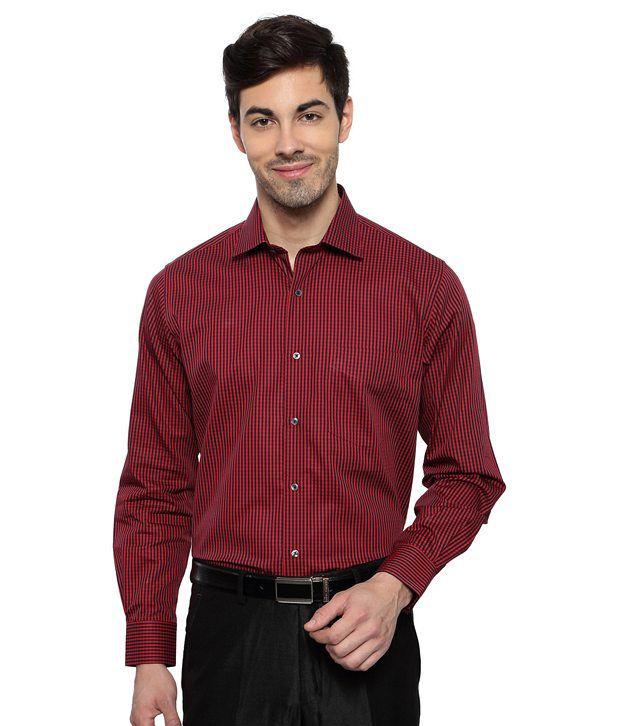Van heusen maroon stripe regular fit formal shirt buy for Van heusen men s regular fit pincord dress shirt