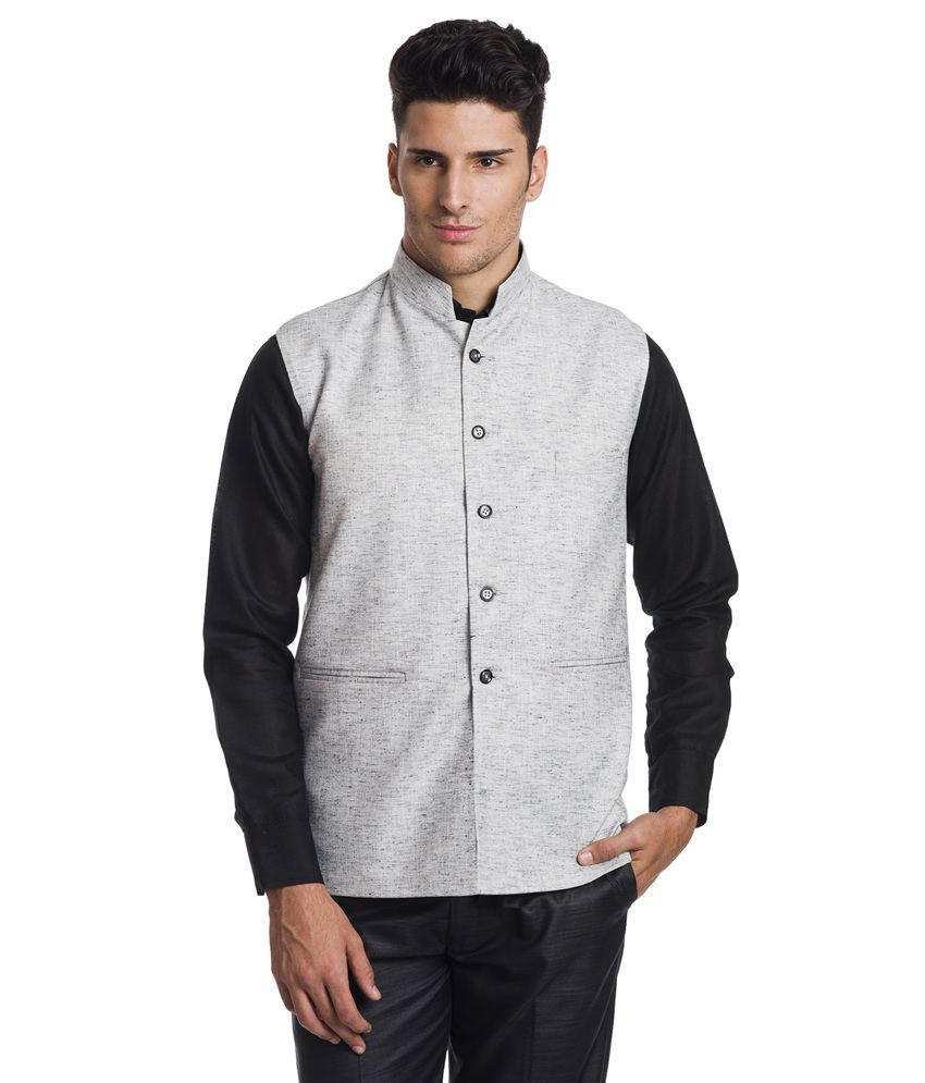 Wintage Gray Linen Party Wear Waistcoat