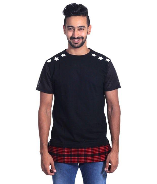 Zachi Black Printed Longline T Shirt For Men