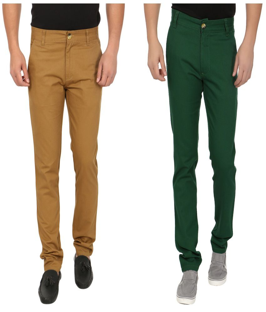 Blimey Brown And Green Chinos (Combo Of 2)