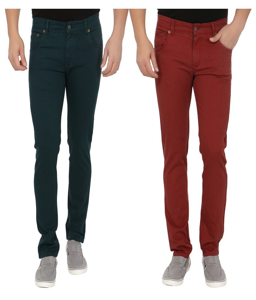 Blimey Maroon And Blue Stretchable Chinos (Combo Of 2)