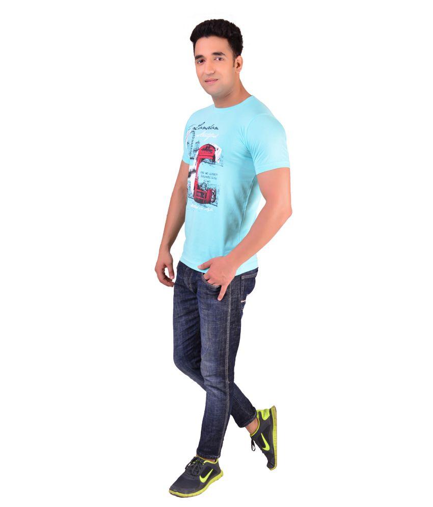 MacZone Turquoise Round Neck Printed Cotton T-Shirt
