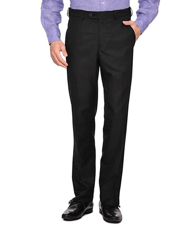 Van Heusen Black Regular Fit Formal Trousers