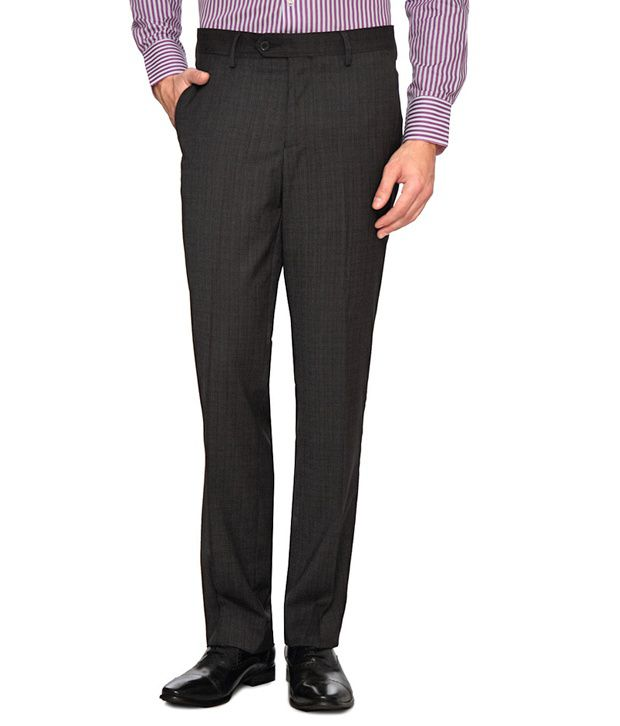 Van Heusen Formal Grey Checks Printed Trousers
