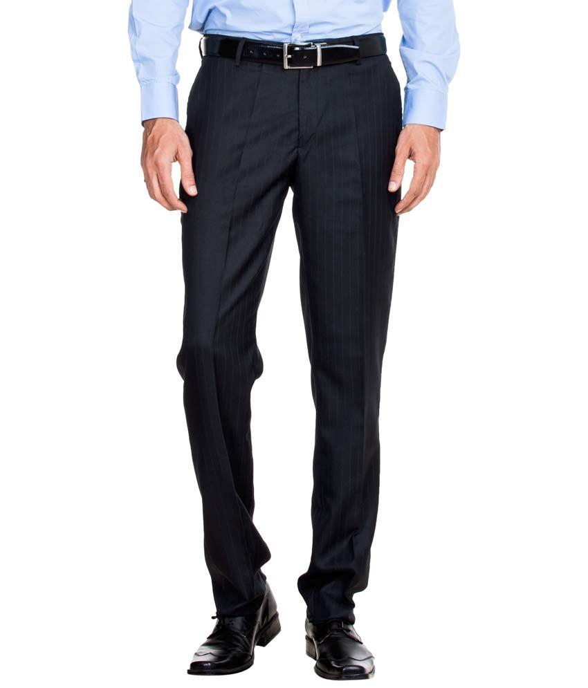 Zovi Black Formal Trousers For Men