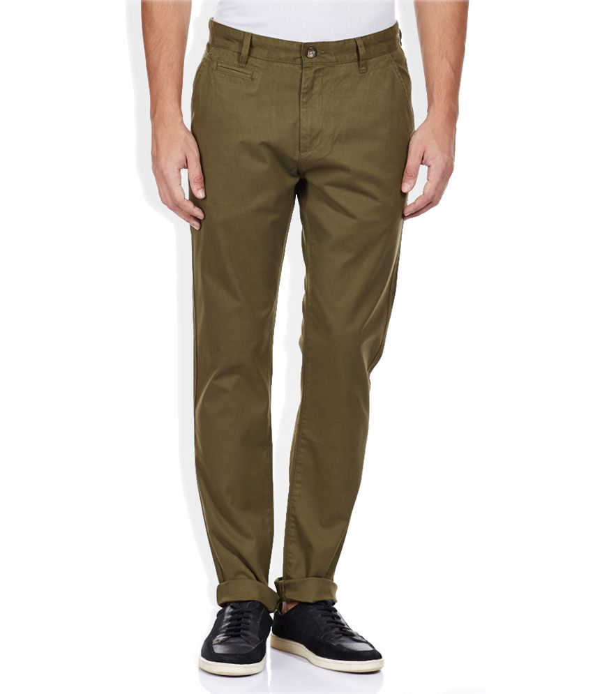 Bossini Green Solid Flat Front Trousers