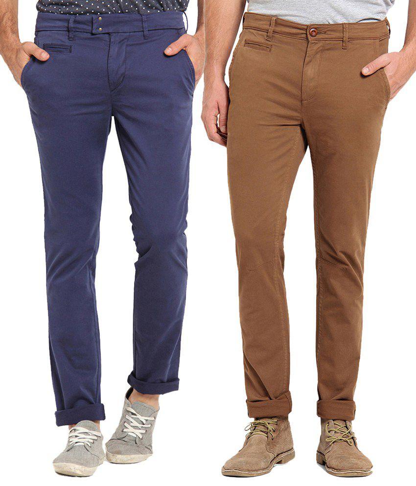 Offline Brown & Dark Blue Cotton Lycra Slim Fit Chinos Pack of 2