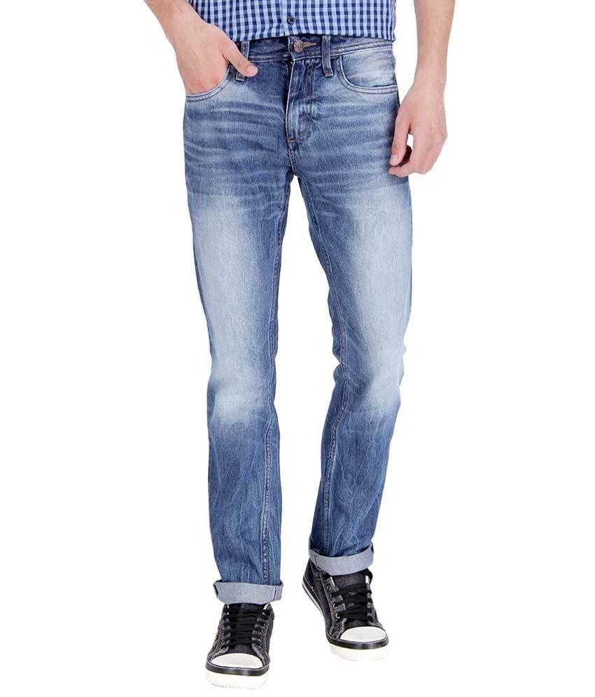 Slub Appealing Blue Cotton Faded Jeans For Men