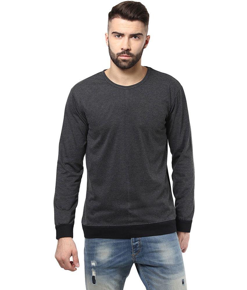 Unisopent Designs Gray Cotton Full Sleeves T-Shirt