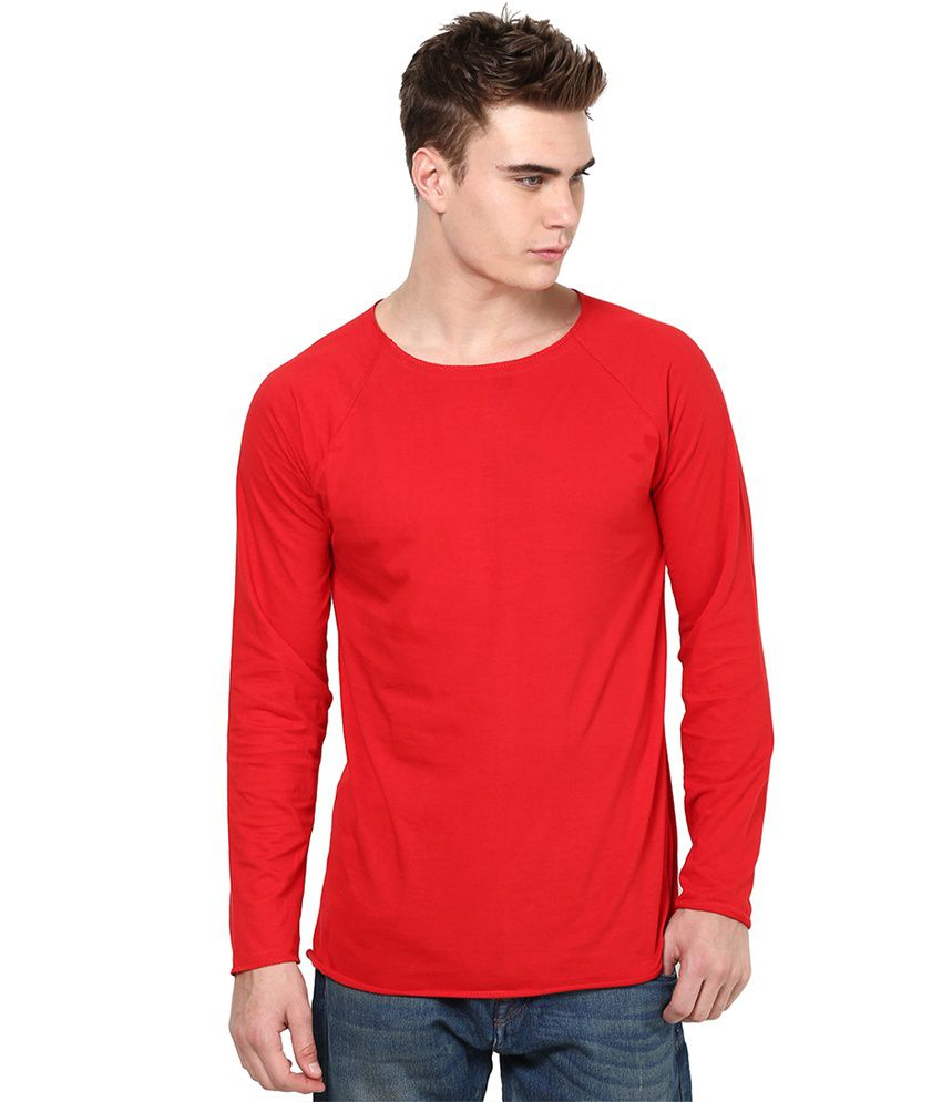 Unisopent Designs Red Cotton Full Sleeves T-Shirt
