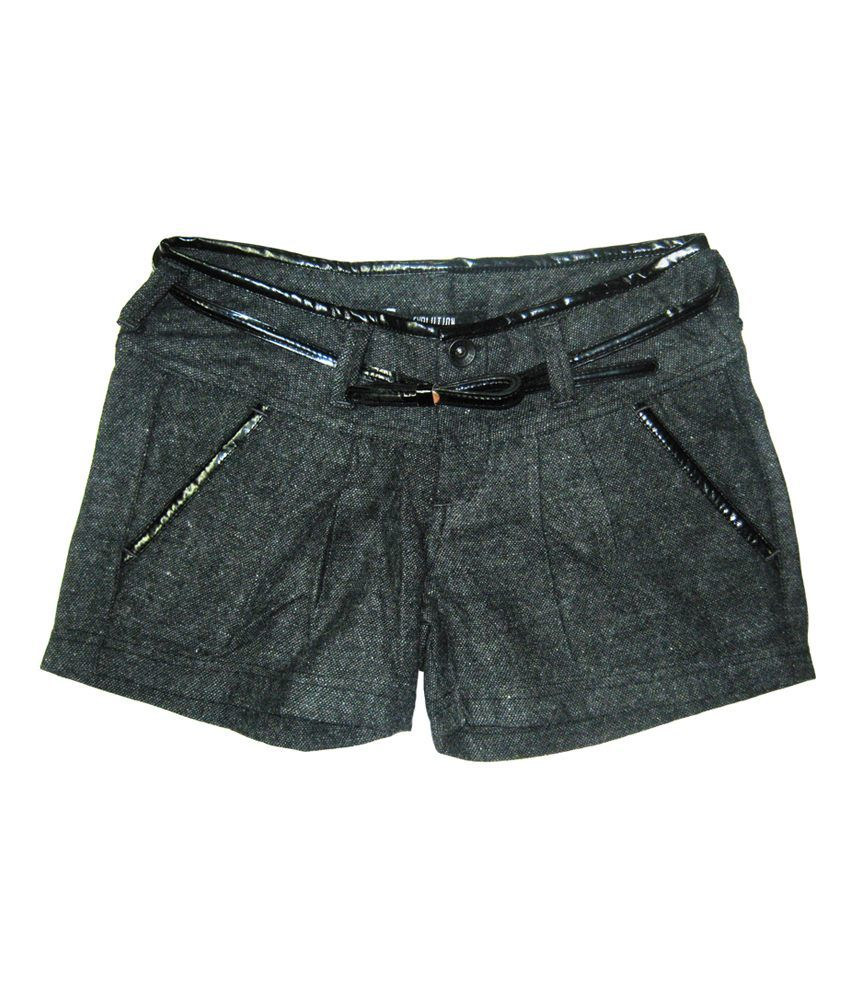 Carmino Casuals Black Blended Elastic Short With Belt