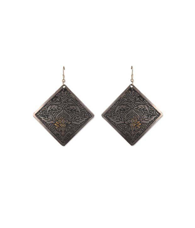 Jewel Paradise Gray Brass Chandeliers Earring