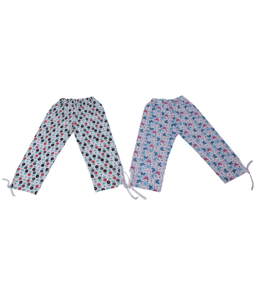 Weecare Cotton Print Capris Girls Set Of 2