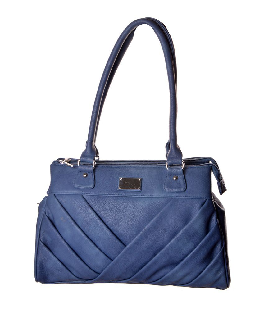 Zakasdeals Blue Leather Zipped Shoulder Bag