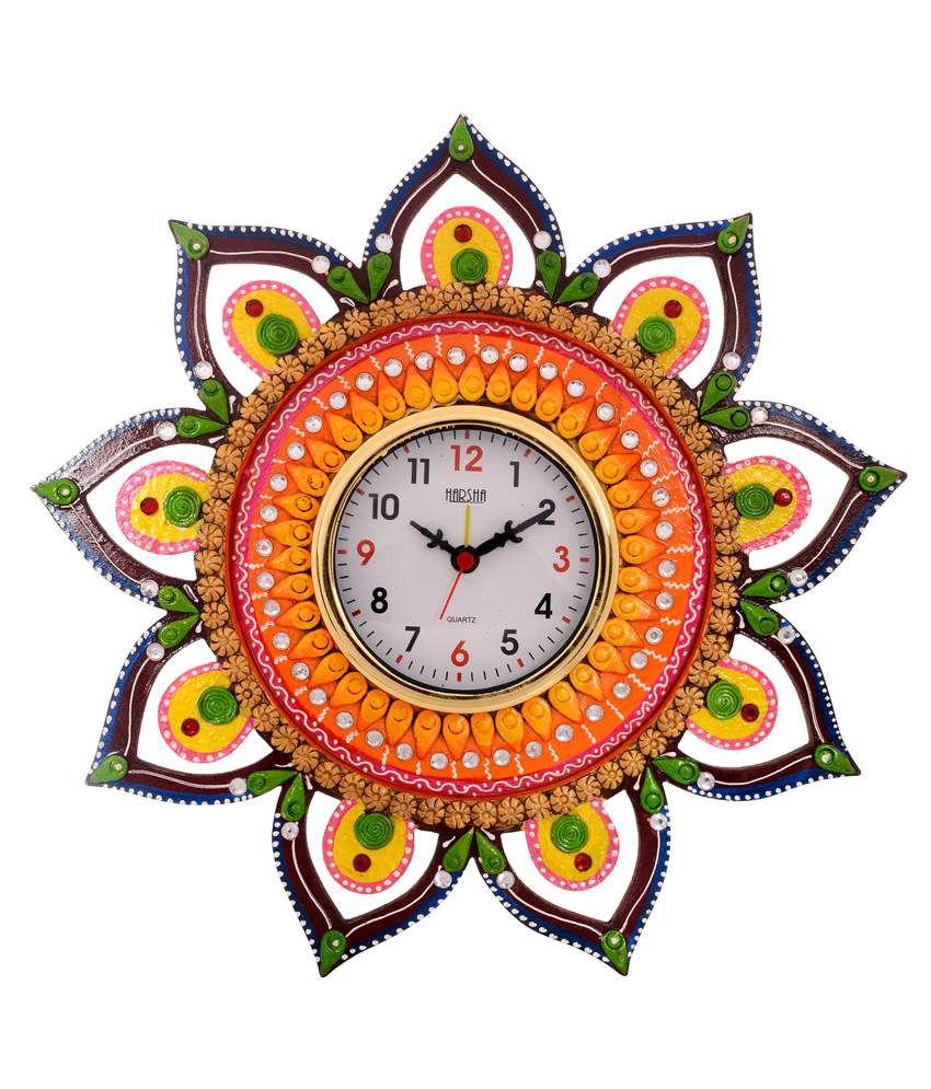 eCraftIndia Decorative & Glossy Papier-Mache Wooden Wall Clock