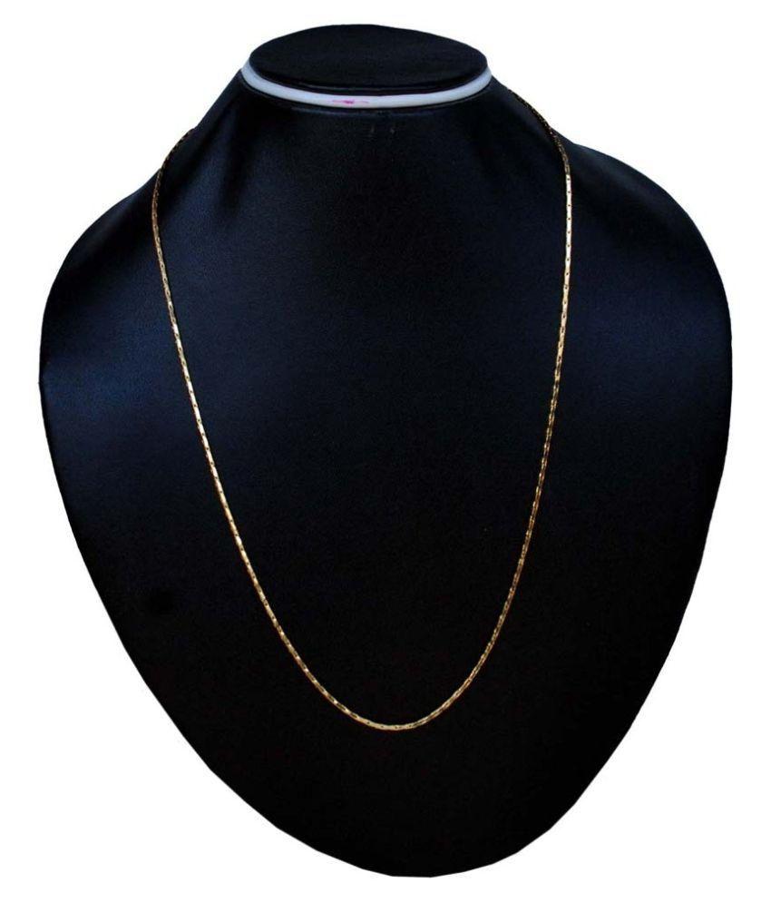 J S Imitation Brass 24 kt Gold Plating Studded Gold Coloured Chain