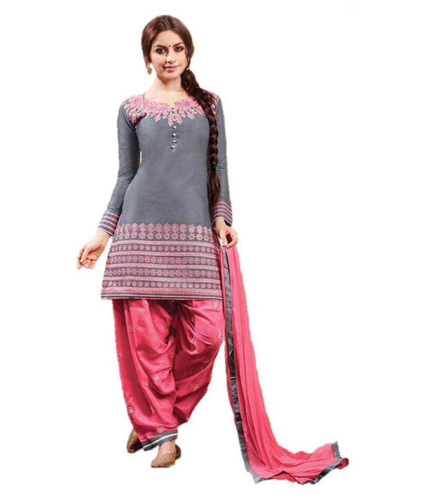 Salwar Suit Hub Grey Cotton Kurti Semi Stitched Suit