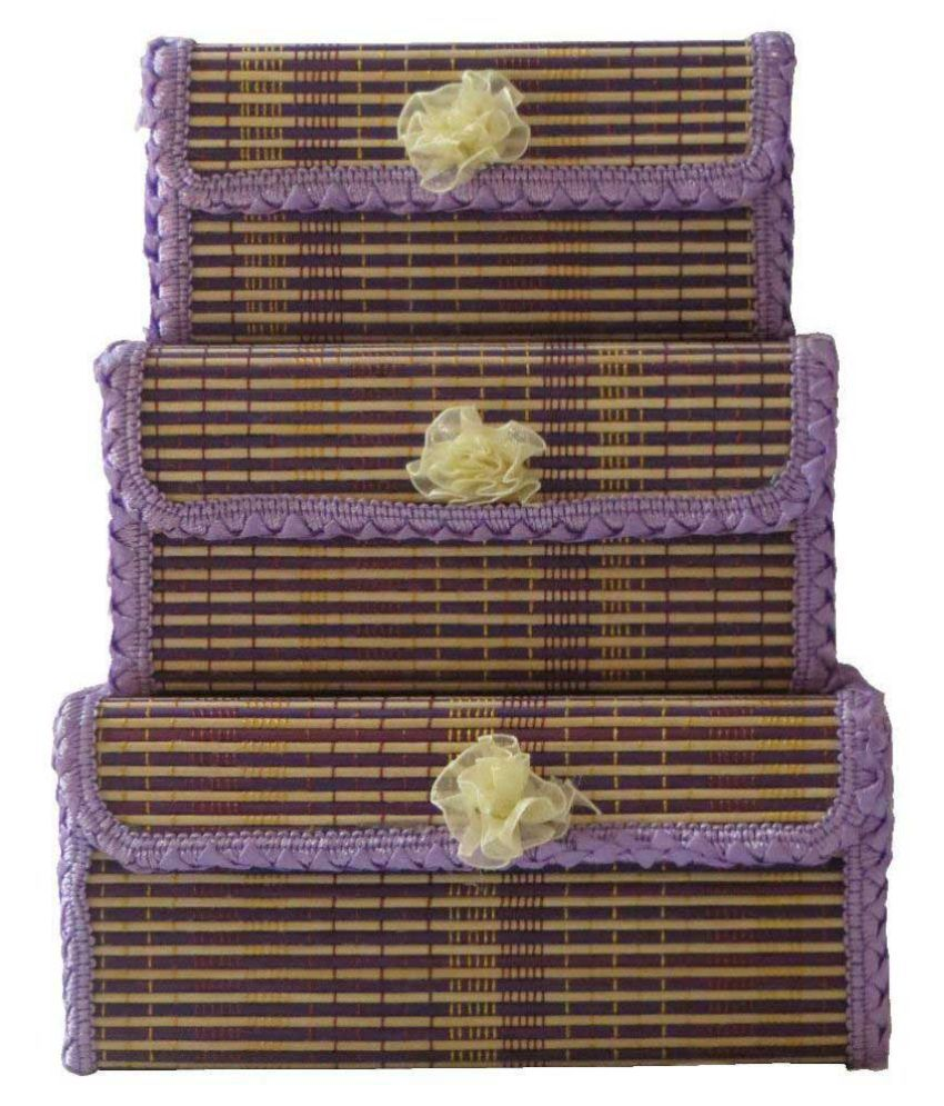 Antiqua V Group Jute Studded Purple Coloured Jewellery Box