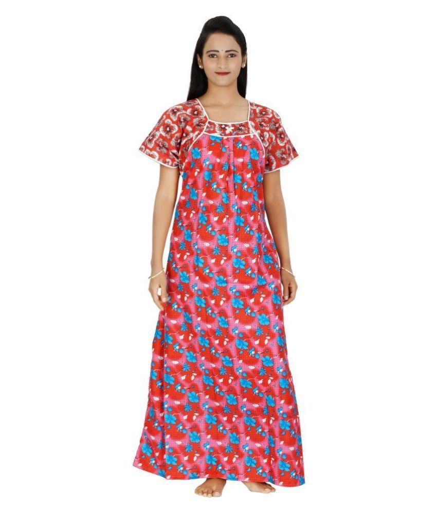 7e725ba903 Buy Indian Beauty Multi Color Cotton Nighty   Night Gowns Online at Best  Prices in India - Snapdeal