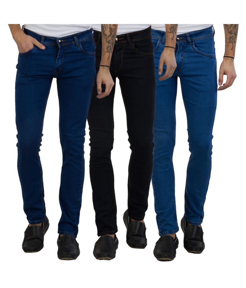 Cladien (Since 1958) Multi Slim Fit Solid Jeans Pack of 3