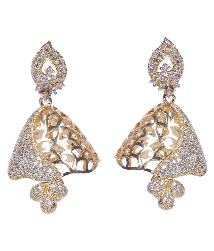 Handluv Alloy Gold Plating American Diamonds Studded Gold Coloured Earrings