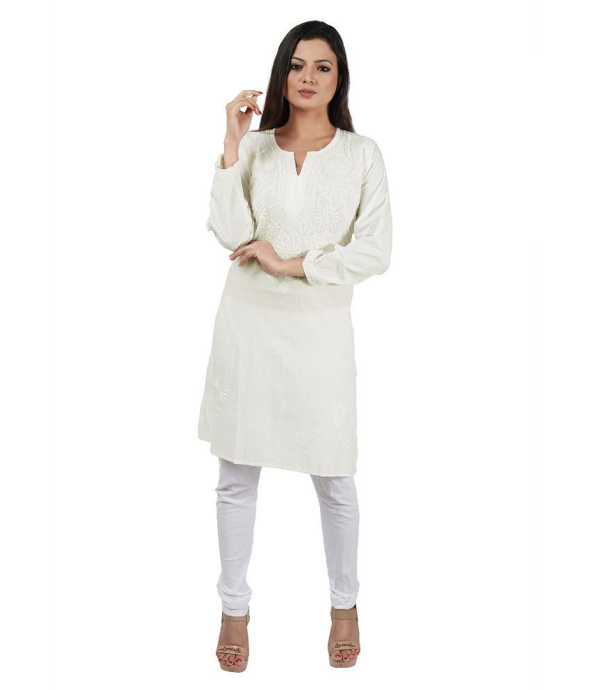 IndianKalakari White Cotton Straight Kurti