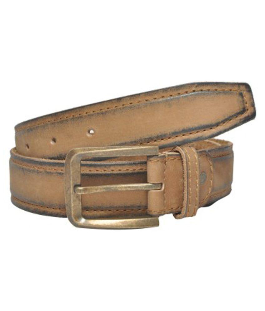 Fadoak Beige Leather Single Pin Buckle Casual Belt for Men
